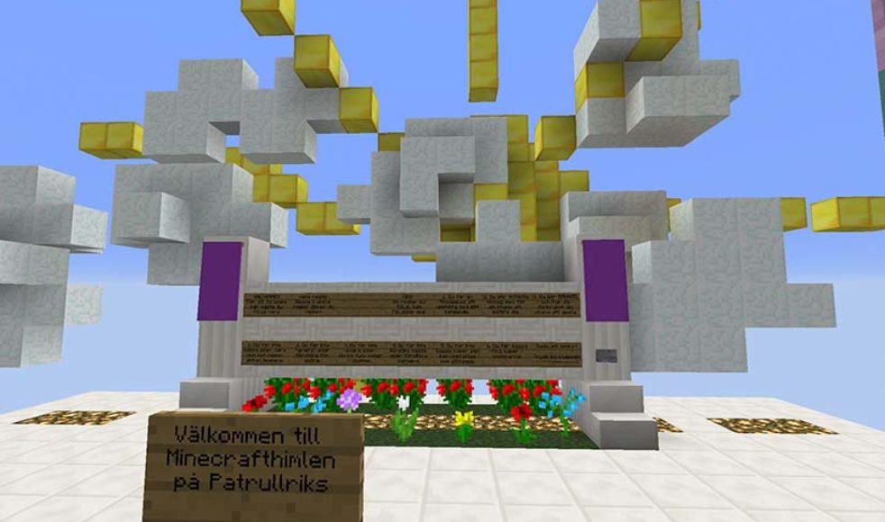 Minecrafthimlen på Patrullriks. Hit kommer man när man ansluter till servern eller om man dör i spelet.