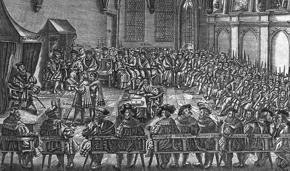 Kansler Christian Beyer läser för kejsare Karl V ur Confessio Augustana vid riksdagen i Augsburg 1530.