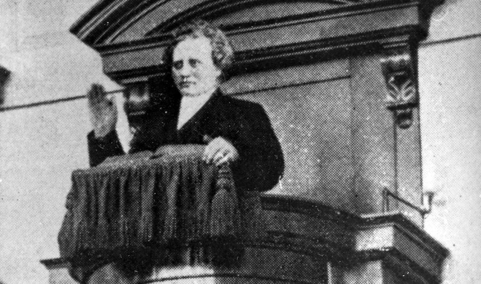 Rosenius under en av sina predikningar från predikstolen i Betlehemskyrkan, då belägen vid Sergelsgatan i Stockholm.