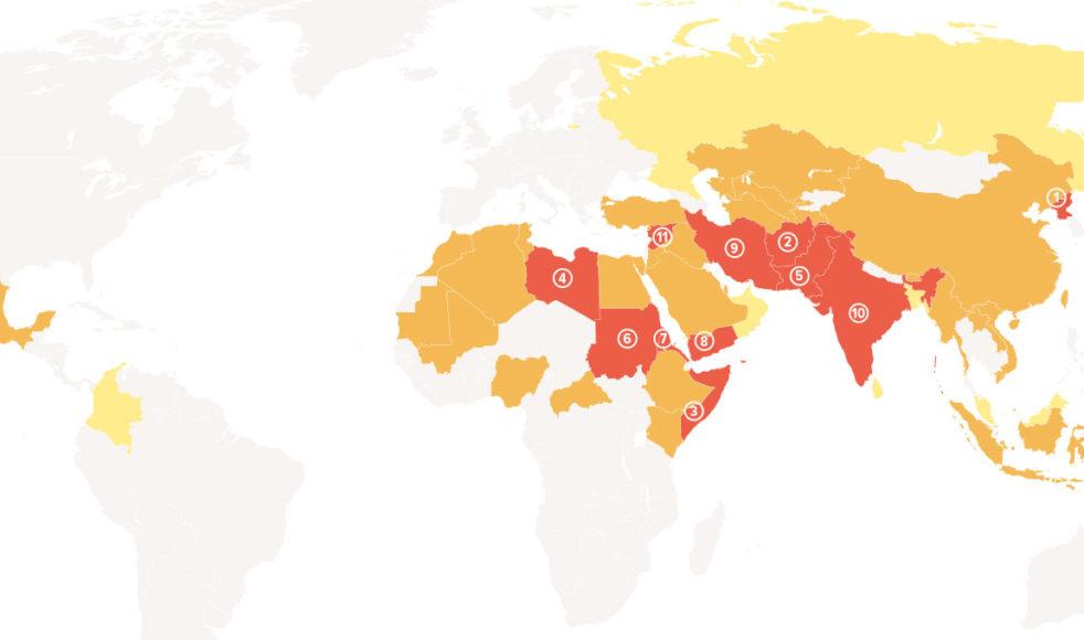 Röd: Extrem förföljelse (100–81 poäng). Orange: Mycket allvarlig förföljelse (80– 61 poäng). Gul: Allvarlig förföljelse (60–41 poäng).