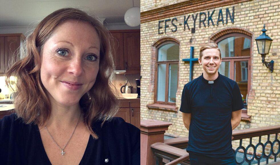 Sara Lindholm, styrelseledamot och medlem i EFS i Västerås och samarbetskyrkan Bäckbykyrkan / Daniel Svensson, präst i EFS Helsingborg. Bild: Privat/Kristoffer Lignell