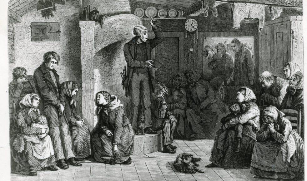 En kolportör i en småländsk stuga. Tecknat efter naturen av K A Ekvall. Ny illustrerad tidning 1870. Så kan det ha gått till när hattmakaren Engzell predikade i Småland sommaren 1856. Bild: EFS arkiv