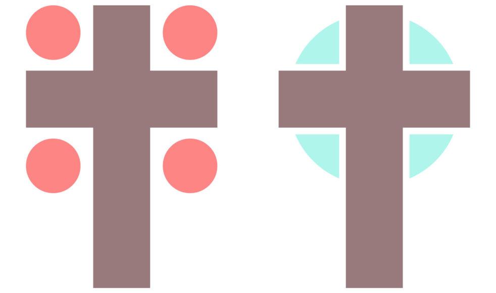 Vänster: När allt är »rätt« men det ändå blir fel – för att olika teman inte sitter ihop med korset. Höger: När det blir alldeles rätt – för att alla teman blir tårtbitar in mot korset.