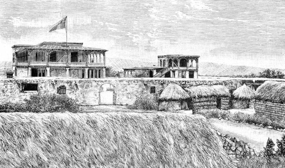 Missionsstationen i Monkullo. På skissen står det noterat att huset skulle målas ljusgult och ha bruna fönsterbågar och gröna persienner. Trävirket på verandan skulle målas mycket ljusgult.