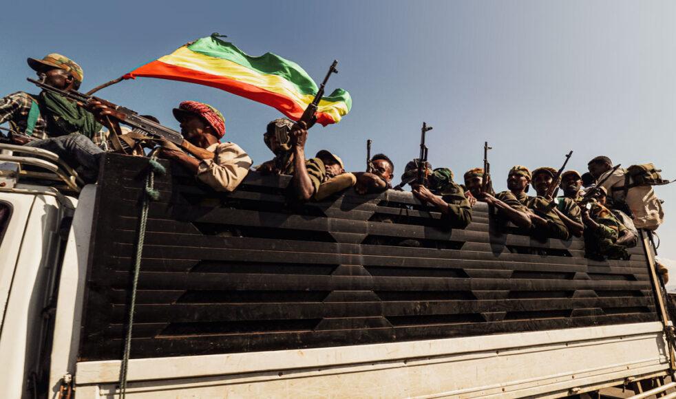 Amhara-milis på väg för att konfrontera lokala styrkor i konfliktdrabbade Tigray, november 2020. Bild: TT
