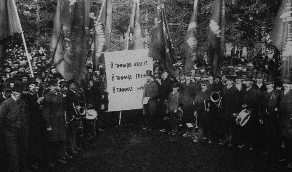 En första maj- demonstration i Sundsvall 1890. Bild: Wikipedia