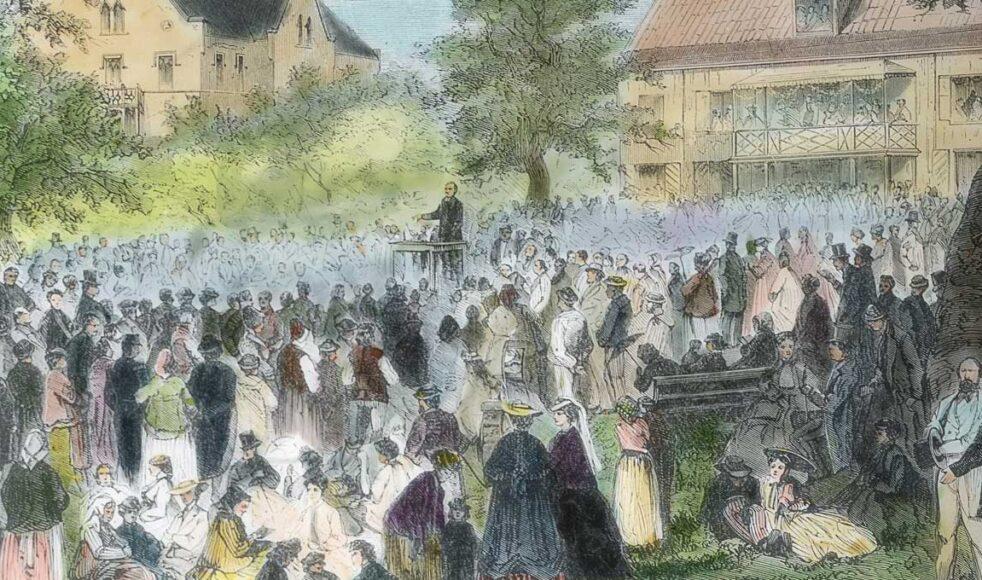 Missionsmöte vid missionsinstitutet Johannelund i Bromma den 13 juni 1870.