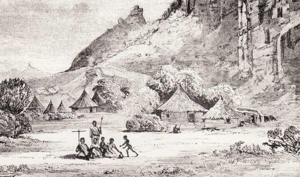 När de första missionärerna sändes ut var målet att nå oromofolket i Etiopien. Här överblick av en by. Bild publicerad i Missions-Tidning 1893