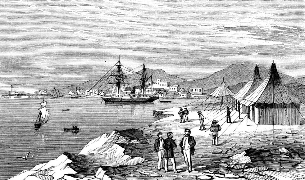 Hamnen i Massaua i dagens Eritrea. Bild publicerad i Barnens Tidning 1885.