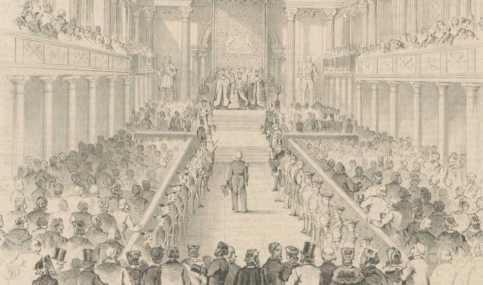 Sveriges riksdags öppnande i närvaro av kung Karl XV. 1867. Detta var den första tvåkammarriksdagen, efter att representationsreformen blivit genomförd vid riksdagen året innan.