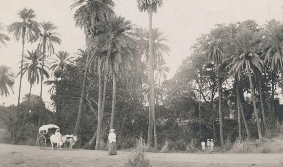 EFS missionsarbete i Indien inleddes år 1877. Här en inte namngiven kvinnlig missionär vid Nimpani, Padhar, cirka 1880.